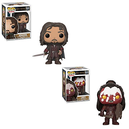 Funko POP! Movies Lord of the Rings: Aragorn and Lurtz Toy Action Figure - 2 POP BUNDLE (The Rings Lurtz Of Lord)
