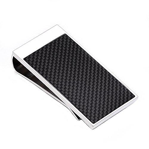 (MERIT OCEAN Silver Stainless Steel Money Clip Carbon Fiber Money Clip Wallet Card Holder)