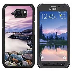 LECELL--Funda protectora / Cubierta / Piel For Samsung Galaxy S6Active Active G890A -- Hermosa orilla rocosa Lago --