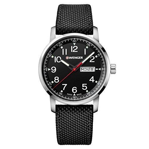 Wenger-011541105-Mens-Attitude-Heritage-Black-Dial-Black-Nylon-Strap-Watch
