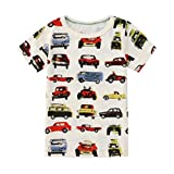 wuayi Summer Toddler Baby Kids Boys T Shirts Cartoon Car Balloon Tees Tops Outfits (18-24 Months, Gray)