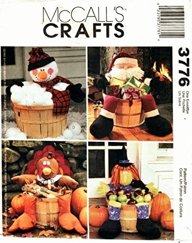 (McCall's 3776 Craft Patterns. Decorated Holiday Baskets: Snowman, Turkey, Santa, & Witch)