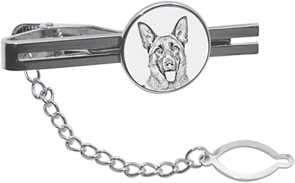 German Shepherd, tie pin, Clip with an Image of a Dog, Elegant and Casual Style