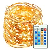 TaoTronics TT-SL038 66ft 200 LED String Lights Dimmable Christmas Decorative Copper Wire, Waterproof, UL Listed (Warm White)