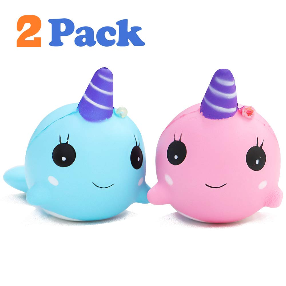 VCOSTORE Squishy Toys Baby Narwhal, 2 Slow Rising Squishies Kawaii Baby Whale Soft and Scented Animals Toys Stress Relief for Kids Gift or Adult