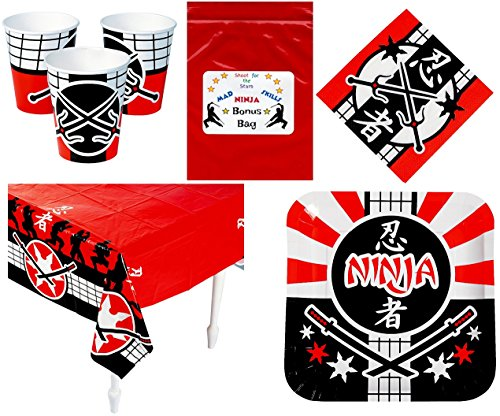 Ninja Warrior Party Supplies Tableware Decorations (1 Tablecover, 16 Napkins, 8 Dinner Plates, 8 Drinking Cups & Bonus Bag)