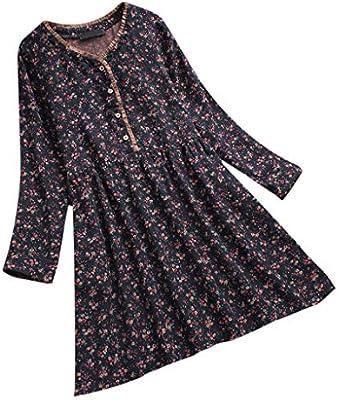Wave166 Mini Mujer, Vestido Vintage Floral Elegante Vestido de ...