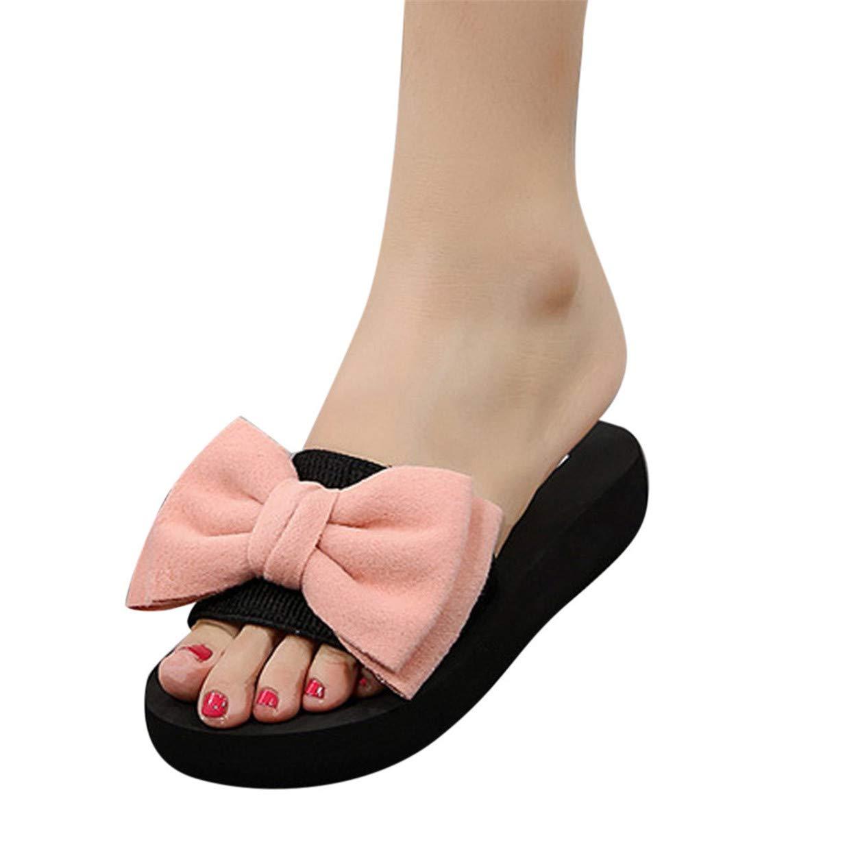TIFENNY Summer Women's Fashion Bow Sandals Slipper Indoor Outdoor Non-Slip Flip-Flops Beach Shoes Pink