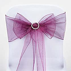 Efavormart 25pc x Wholesale Sheer Organza Chair Sashes Tie Bows for Chairs -Catering Wedding Decoration - Eggplant