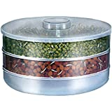 BAY Plastic Sprout Maker with 3 Compartments, 3 Cups(Transparent)