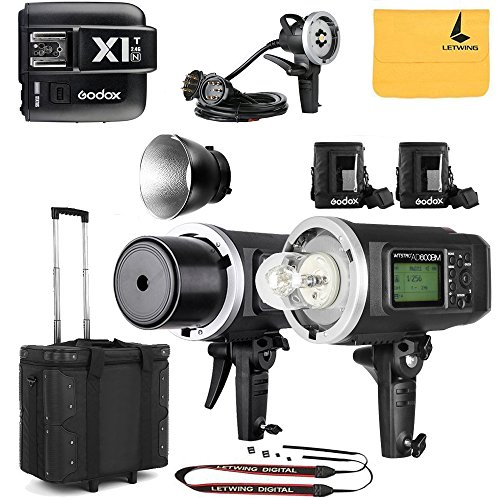 GODOX AD600BM Sync 1 / 8000s 2.4G 2Pcs Wireless Flash Speedlite,GODOX X1T-N Wireless Flash Trigger,GODOX AD-H1200B Hand-Held Extension Extra Head Bowens Mount for Godox AD600B AD600BM Flash Strobe by Godox