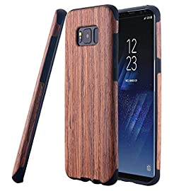 Galaxy S8 Case, LONTECT [Slim Matte] [Shock Absorbing] Flex TPU Non Slip Wood Tactile Extra Grip Rubber Bumper Case Cover for Samsung Galaxy S8 - Teakwood 18 Made of natural wood and TPU materials and be precisely molded, perfectly fit your device. Note: the case grain may be slightly differ for the real wood material. Fit for Galaxy S8 only, NOT for S8 Plus Natural wood grain case with an elegant and distinct slim profile offers comfortable grip feeling Soft TPU shell wraps around device to absorb shock when falling
