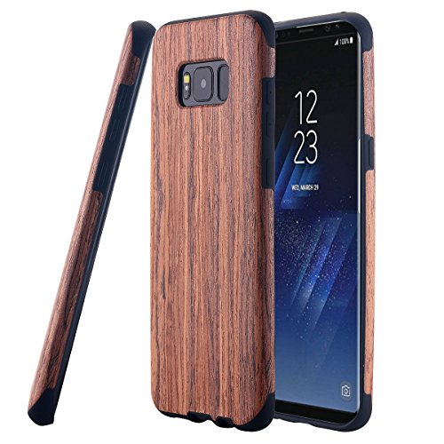 Galaxy S8 Plus Case, LONTECT [Slim Matte] [Shock Absorbing] Flex TPU Non Slip Wood Tactile Extra Grip Rubber Bumper Case Cover for Samsung Galaxy S8 Plus