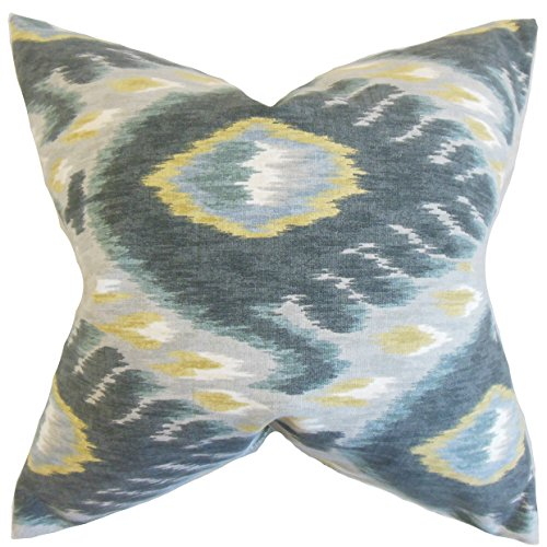 The Pillow Collection Barnum Ikat Bedding Sham Mineral, Euro/26