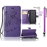Samsung Galaxy S4 Case, Bonice 3 in 1 Accessory PU Leather Flip Practical Book Style Magnetic Snap Wallet Case with [Card Slots] [Hand Strip] Premium Multi-Function Design Cover + Stylus Pen + Diamond Rhinestone Butterfly Antidust Plug, Purple