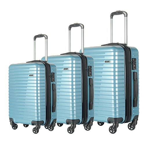 (3 PC Luggage Set Durable Lightweight Spinner Suitecase LUG3 696 ICE BLUE)