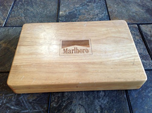 Vintage Marl Boro Poker Set   2 Decks Of Cards  240 Generic Chips  Solid Wood Case