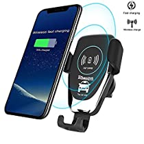 rhungift Wireless car charger car cell phone mount Gravity Linkage Phone Holder with Air Vent for iphone x 8 plus samsung galaxy s7 s6 edge+ note 5 s8 S9+ with car-dashboard suction mount gravity linkage air ventphone-holder