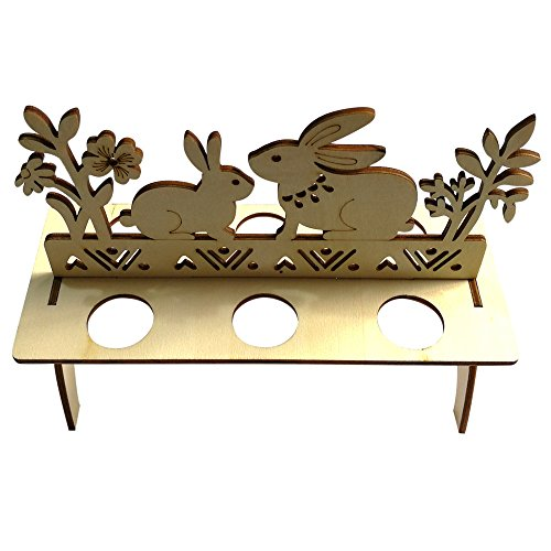 MALLOOM Wooden Creative Easter Egg Shelves Tray for Kids Bunny Hen Pattern Carry Hold Eggs (B) by MALLOOM