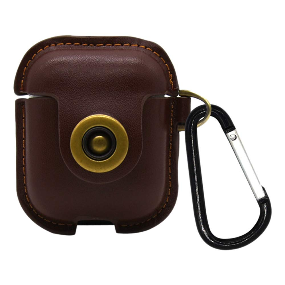 Sikye Premium Leather Full Protective Cover Skin for Airpods Case - Anti-Lost Carabiner,Dust and Drop Proof Headphone Case (Brown)