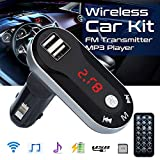Binmer MP3 Player,Bluetooth Wireless FM Transmitter MP3 Player Handsfree Car Kit USB TF SD Remote