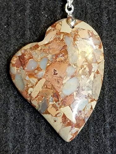 Stunning Earth-Tones Heart Shaped Snake Skin Jasper Pendant US-245 ()