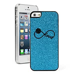 Apple iPhone 5 5s Glitter Bling Hard Case Cover Infinity Infinite Love for Volleyball (Light Blue)