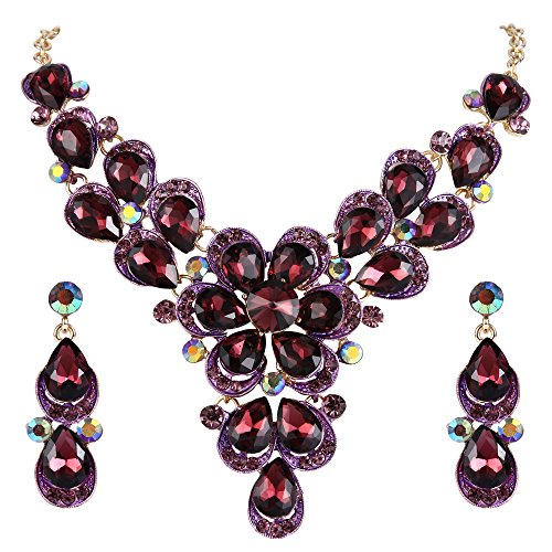 BriLove Women's Wedding Bridal Statement Necklace Dangle Earrings Jewelry Set with Crystal Teardrop Shape Petal Flower Deep Amethyst Color Gold-Tone
