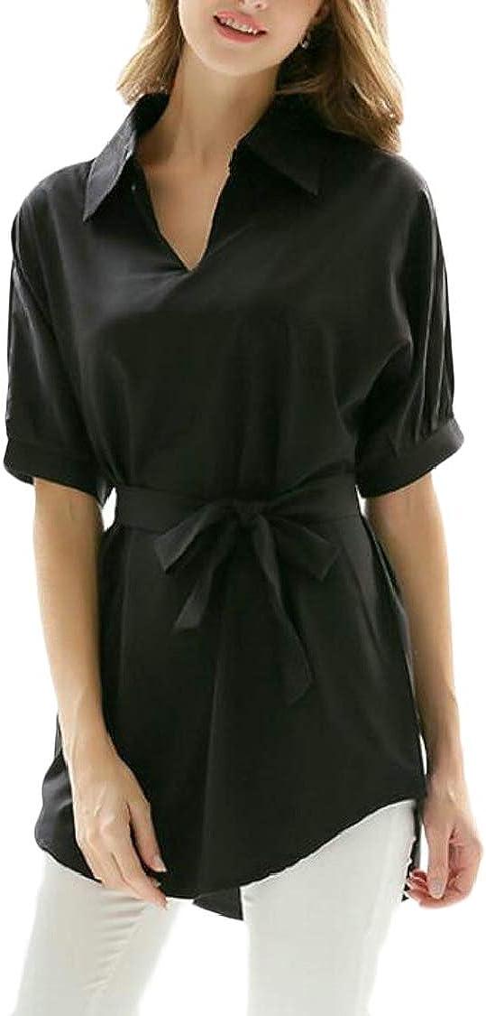 Pandapang Womens Basic Lapel Neck 3//4 Sleeve Curved Hem Belt Top Blouse T-Shirts