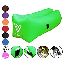 VITCHELO Inflatable Lounger, Sofa, Couch, Seat & Air Bag. Suitable for Camping, Lounging, Beach, Park & Festivals. Supports Up to 400lbs. 8.2 ft Long. Floatable, Foldable, Rip & Tear-Stop Lazy Bag
