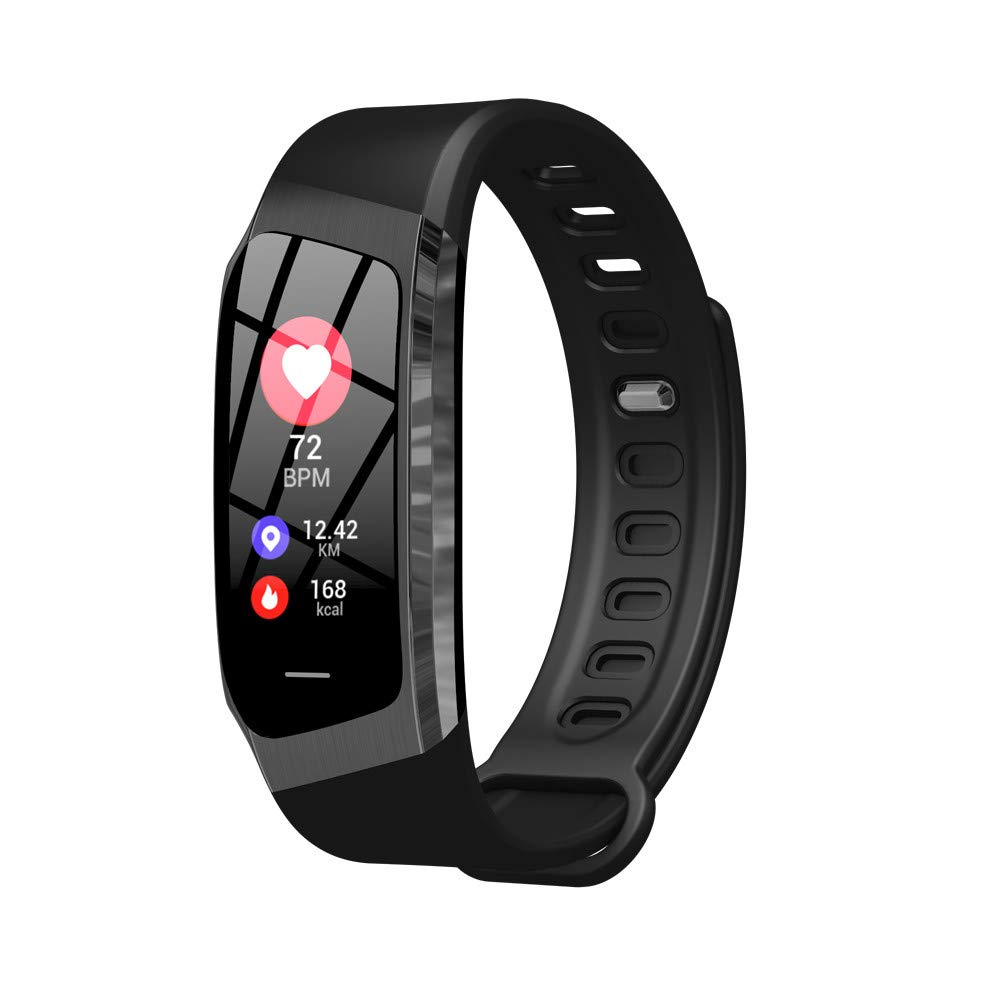 Cywulin Fitness Tracker IP68 Waterproof Smart Watch Wristband Activity Tracking Bracelet Heart Rate Sleep Monitor Pedometer Calories Step Counter iOS Android Men Women Kids Outdoor Sport (Black)