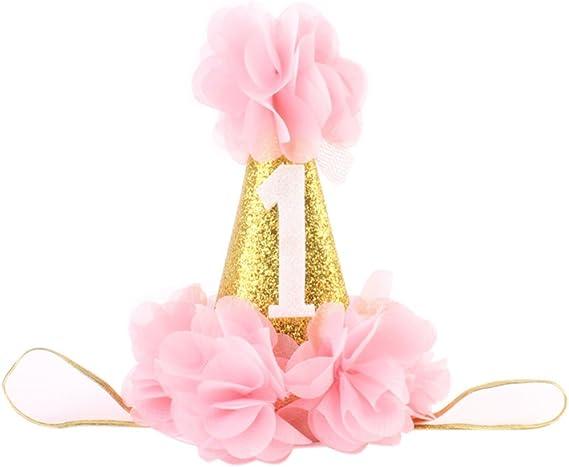 Amazon.com: dorado Swallow primer cumpleaños diadema bebé ...