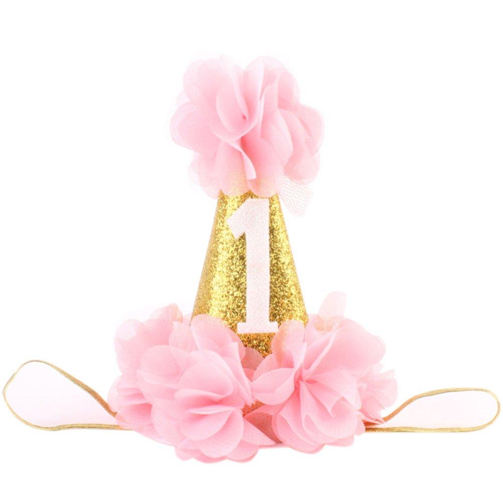 Baby Girl First Birthday Hat Princess 1 St Cake Smash Party Crown Gold Chiffon Flower Headband Pink