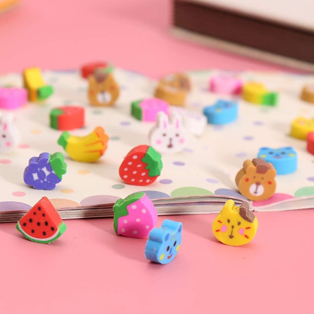ccHuDE 150 Pcs Mini Colorful Pencil Erasers Animal Fruit Assorted Eraser for Party Favors Kids Rewards