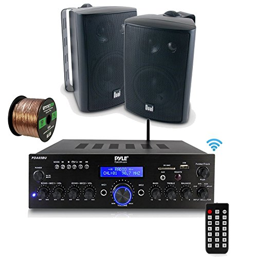 Pyle PDA65BU Amplifier Receiver Stereo, Bluetooth, FM Radio, USB Flash Reader, Aux Input LCD Display, 200 Watt with Dual LU47PB Indoor/Outdoor Speakers Bundle with Enrock 50ft 16g Speaker Wire by EnrockAudioBundle (Image #6)