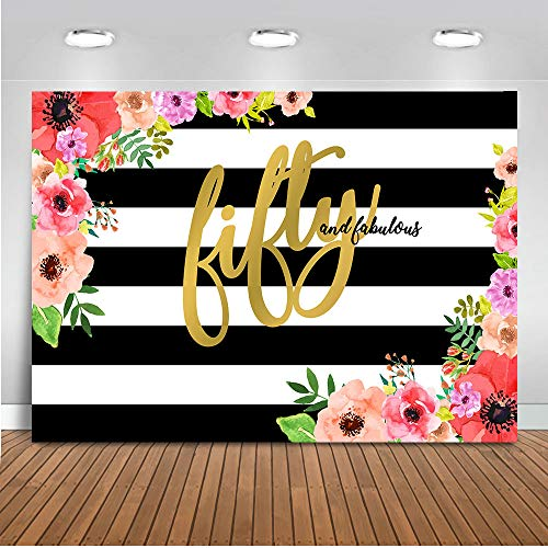 Mocsicka Fifty and Fabulous Backdrop 7x5ft Black and White Stripe Floral Photography Background Happy 50th Birthday for Elegant Lady Photo Backdrops ()