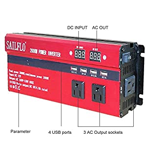 SAILFLO 2000W Peak Power Inverter DC 12V to AC 110V Car Adapter with 5A 4 USB Charging Ports (Cigarette lighter adapter for device under 150W )