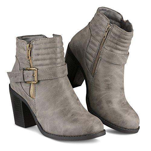 Faux Bootie Women's Heeled Leather Jasmine Twisted Zipper Grey AUq47