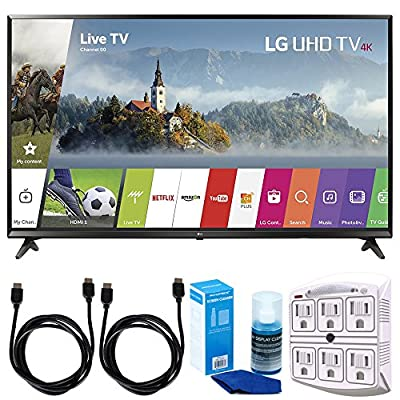 """LG 55UJ6300 55"""" 4K Ultra HD Smart LED TV (2017 Model) w/ Accessories Bundle Includes, SurgePro 6-Outlet Surge Adapter with Night Light, 2x 6ft. HDMI Cable & Screen Cleaner (Large Bottle) For LED TVs"""
