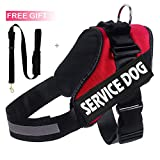 Lifeunion K9 Service Dog Reflective Harness Vest with 2 Removable Velcro Patches,Purchase Comes with a Free Dog Leash (XL, Red)