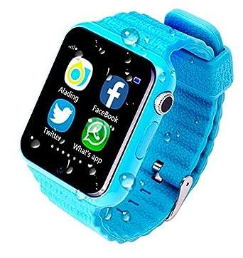 GPS reloj inteligente v7 K Kids resistente al agua Smart - Reloj con cámara Facebook SOS Llamada niños seguridad anti-lost Monitor Bluetooth reloj ...