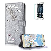 Funyye 3D Bling Flower Diamond Wallet Leather Case for Huawei P8 Lite 2017,Silver Premium Glitter Crystal Shiny Rhinestone PU Leather Protective Cover Case,Multifunctional Magnetic Flip with Stand Credit Card Holder Slots Case for Huawei P8 Lite 2017/P9 Lite 2017 + 1 x Free Screen Protector