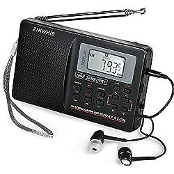 Clock Radio, ZHIWHIS Portable HD Digital LCD Display Alarm Clock Radio, AM/FM/SW Radio, Battery Powered Operated & USB Charge Radio with Clear Loudspeaker & Earphone Jack