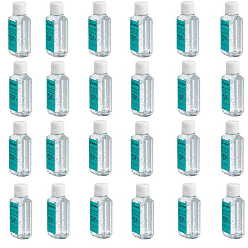 Hand Sanitizer 24 Pack Dearskin Alcohol 75% Based Gel Infused with Aloe Vera 2.36oz/70ml, Skin Care Scent Free Natural Antibacterial, Refreshing Moisturizing, Pure Disinfection