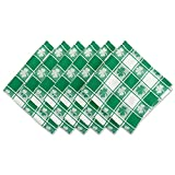 DII 100% Cotton, Oversized Basic Everyday 20x 20'' Napkin, Set of 6,  Green & White Check with Shamrock