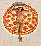 MEANBEAUTY Round Beach Towel Pizza Quick Dry Blanket Water Absorbent Tablecolth with Tassels Lightweight