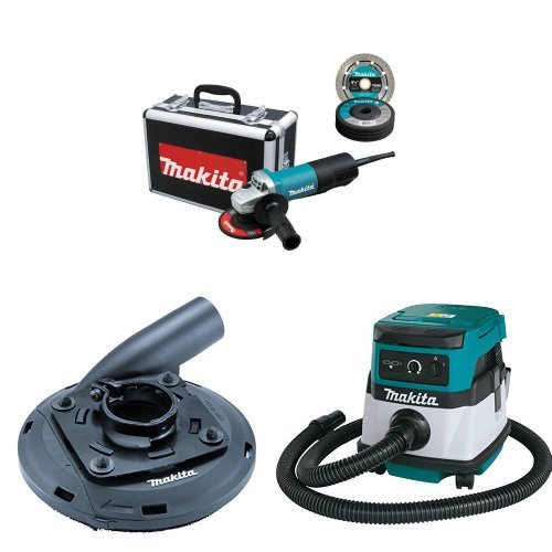 Makita 9557PBX1 4-1/2-Inch Angle Grinder with Aluminum Case with Makita 195236-5 4-1/2-Inch - 5-Inch Dust Shroud  with Makita XCV04Z 18V X2 LXT Lithium-Ion Cordless/Corded Dry Vacuum, 2.1 gallon