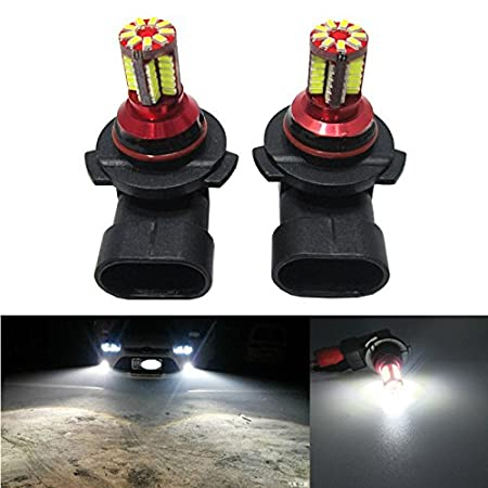 Pack of 2 FEZZ LED Fog Light Bulbs Super Bright H3 3014 57SMD White for Auto Car DRL Lamps White