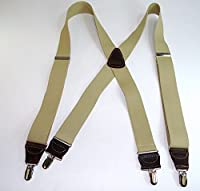 Hold-Ups Sand Dunes Tan Casual Series Suspenders in X-back with Silver Clips