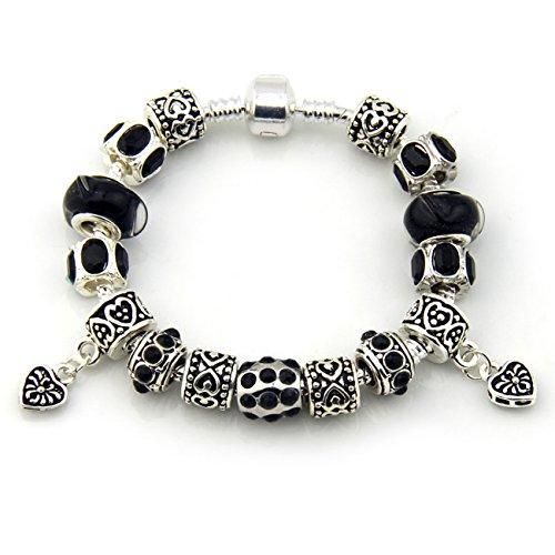 MiAnMiAn European Style Black crystal diamond Tibetan silver tube beads Silver-plated DIY Macroporous Glass Charms Snake Chain Bracelet with Barrel Clasp 20cm(7.87